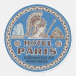Arte del viaje de París del hotel del vintage Etiqueta Redonda