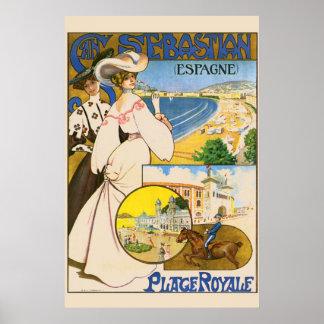 Arte del viaje de San Sebastián España del vintage Póster
