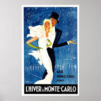 Arte del viaje del encanto de Monte Carlo Mónaco Poster