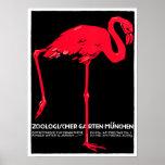 Arte del viaje del flamenco del jardín del parque  posters