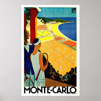 Arte del viaje del tenis de Monte Carlo Mónaco Poster
