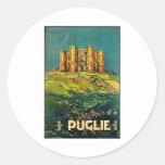 Arte del viaje del vintage de Castle del Monte Pegatina Redonda