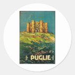 Arte del viaje del vintage de Castle del Monte Etiqueta Redonda