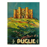 Arte del viaje del vintage de Castle del Monte Pug Tarjeta Postal