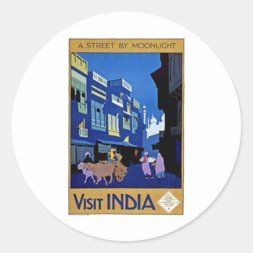 Arte del viaje del vintage de la India de la Pegatina Redonda