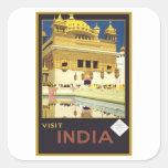 Arte del viaje del vintage de la India de la Calcomania Cuadrada Personalizada