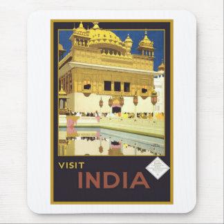 Arte del viaje del vintage de la India de la visit Alfombrillas De Raton
