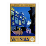 Arte del viaje del vintage de la India de la visit Tarjeta Postal