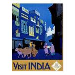 Arte del viaje del vintage de la India de la visit Postal