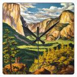 Arte del viaje del vintage de Yosemite Reloj