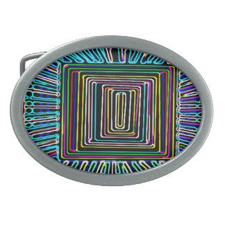 Arte del viaje espacial - botón invisible de la mo hebillas cinturon ovales