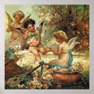 Arte del Victorian, ángeles del músico de Hans Póster