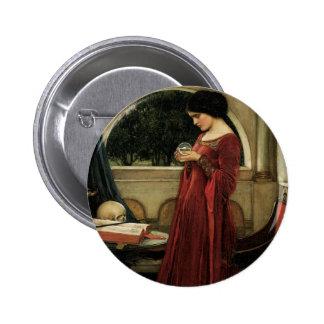 Arte del Victorian del vintage, bola de cristal Pin Redondo 5 Cm