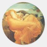 Arte del Victorian del vintage, flameando junio Pegatina Redonda