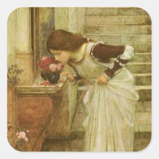 Arte del Victorian del vintage, la capilla por el Pegatina Cuadrada