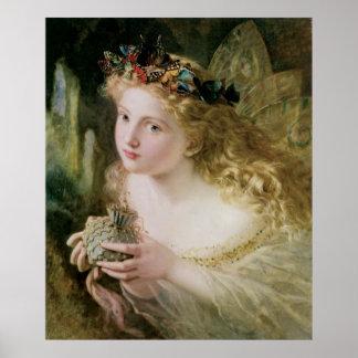 Arte del Victorian del vintage, mariposas de hadas Póster