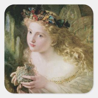 Arte del Victorian del vintage, mariposas de hadas Pegatina Cuadrada