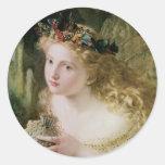 Arte del Victorian del vintage, mariposas de hadas Pegatina Redonda