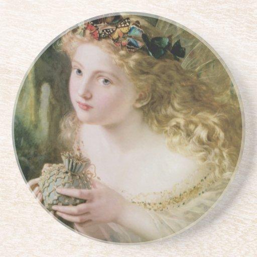 Arte del Victorian del vintage, mariposas de hadas Posavasos Cerveza