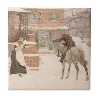 Arte del Victorian del vintage, saludando al Azulejo Cuadrado Pequeño