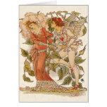 Arte del Victorian del vintage, subió por la grúa Tarjeta De Felicitación