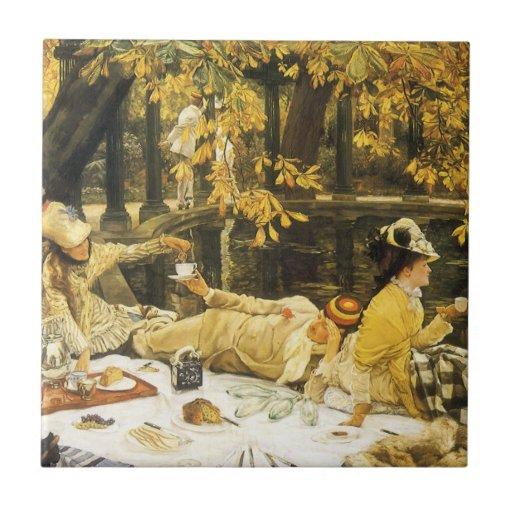 Arte del Victorian, Holyday, la comida campestre Azulejo Cuadrado Pequeño
