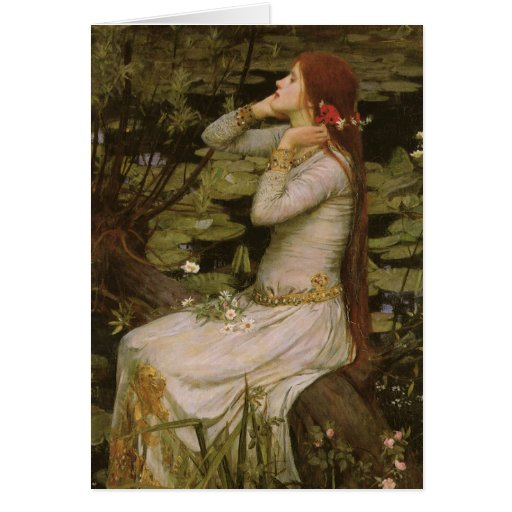 Arte del Victorian, Ofelia por la charca por el Tarjeta De Felicitación