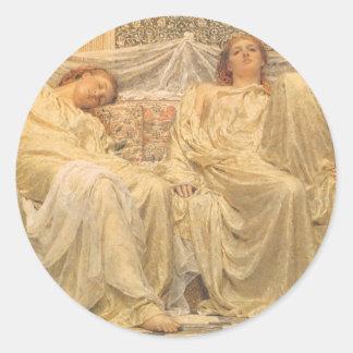 Arte del Victorian, soñadores de Albert José Moore Pegatina Redonda