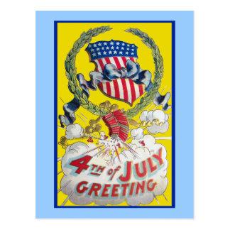 Arte del vintage - 4to del saludo de julio tarjeta postal