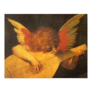 """Arte del vintage, ángel del músico de Rosso Invitación 4.25"""" X 5.5"""""""