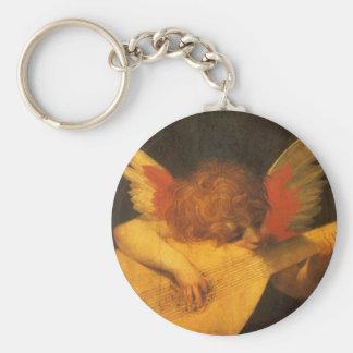 Arte del vintage, ángel del músico de Rosso Llavero Redondo Tipo Pin
