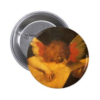 Arte del vintage, ángel del músico de Rosso Pin Redondo 5 Cm