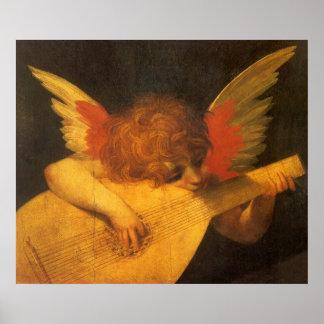 Arte del vintage, ángel del músico de Rosso Póster