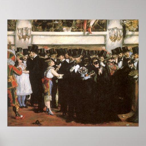 Arte del vintage, bola enmascarada en la ópera por póster