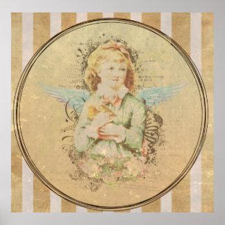 Arte del vintage, chica del ángel con el pájaro