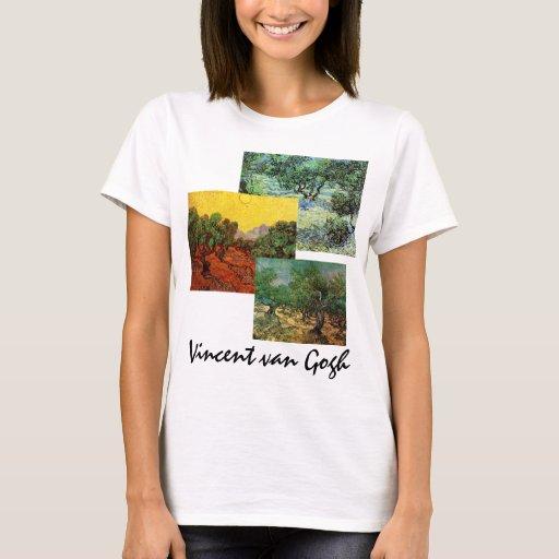 arte del vintage de 3 diverso de Van Gogh árboles Playera