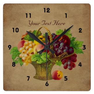 Arte del vintage de la cesta de fruta reloj cuadrado