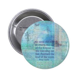 Arte del vintage de la cita de la sirena pin redondo de 2 pulgadas