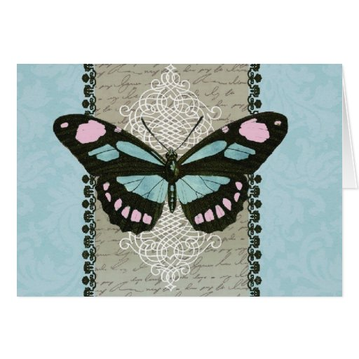 Arte del vintage de la mariposa-notecard de la esc tarjeta