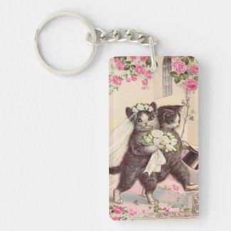 Arte del vintage de los gatos del boda llavero rectangular acrílico a doble cara