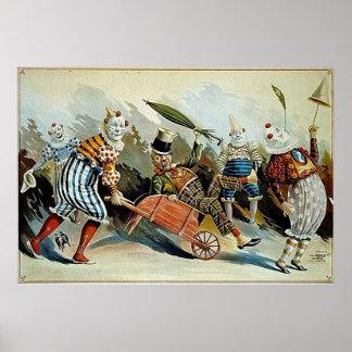 Arte del vintage de los payasos de circo póster
