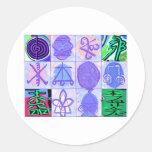 Arte del vintage de los símbolos de KARUNA REIKI Etiqueta Redonda