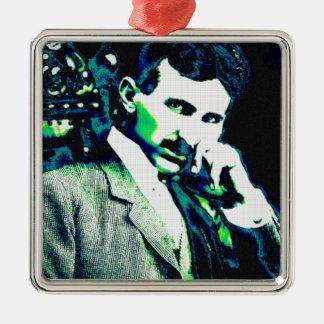 Arte del vintage de Nicola Tesla nuevo Adorno Cuadrado Plateado
