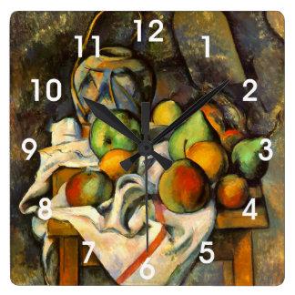 Arte del vintage de Paille del florero de Cezanne Reloj Cuadrado