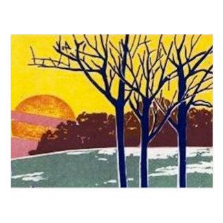 Arte del vintage de Sun del invierno Postal
