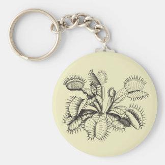 Arte del vintage del atrapamoscas de Venus Llavero Redondo Tipo Pin
