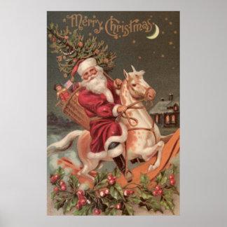 arte del vintage del caballo mecedora del montar a póster