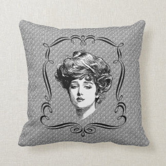 Arte del vintage del chica de Gibson Cojín Decorativo