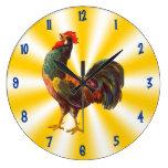 Arte del vintage del gallo en el reloj blanco amar
