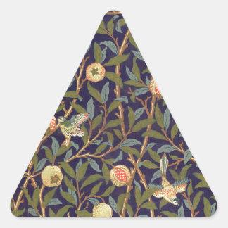 Arte del vintage del pájaro y de la granada de calcomanía de triangulo